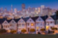 Alamo Square at twilight, San Francisco.