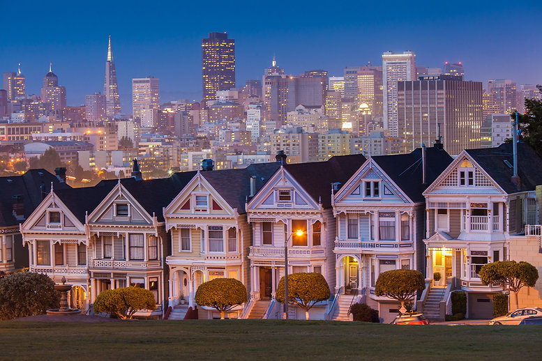 Alamo Square at twilight, San Francisco.