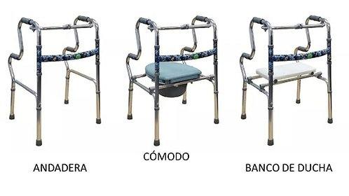 ANDADERA MULTIFUNCIONAL *ANDADERA + CÓMODO + SILLA DE DUCHA*