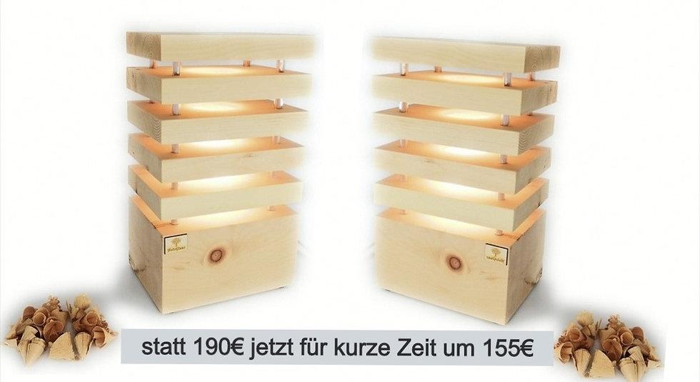 Zirben Nachttischlampen Paar Quer 12,5x17,29,5cm