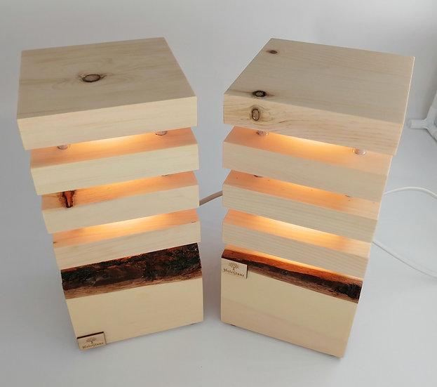 Zirben Lampen Paar 12,5x12,5x26cm Einzelstück - Paar 3