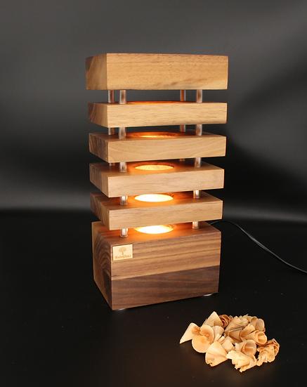 Nachttischlampe Nuss Holz