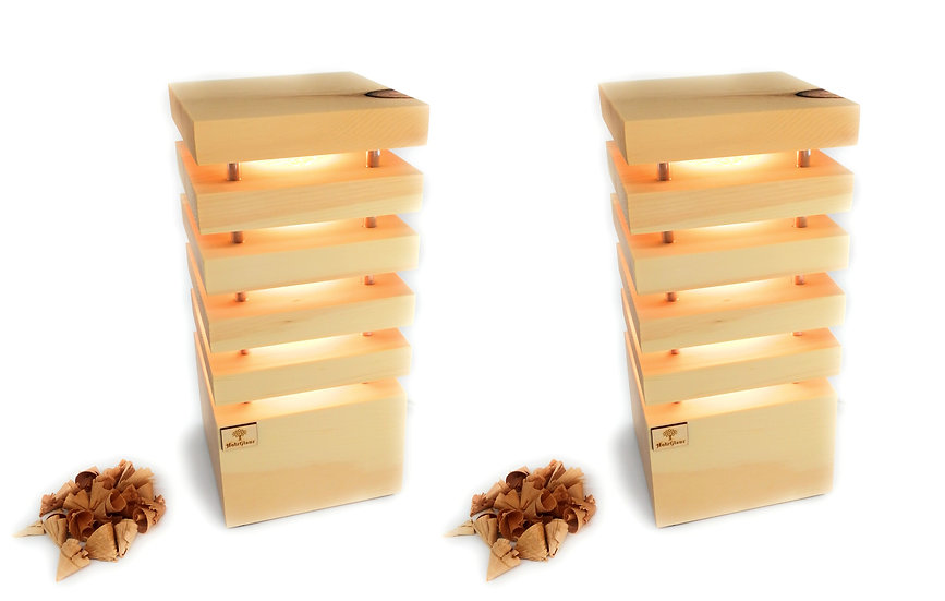 Zirben Lampen Paar 14 x 14 x 30 cm