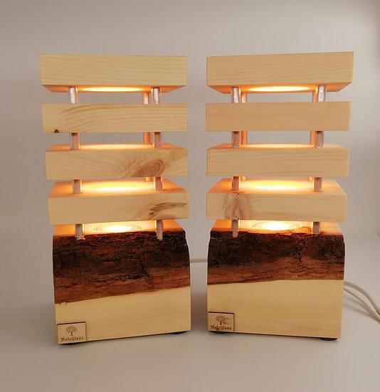 Zirben Lampen Paar 12,5x12,5x26cm Einzelstück - Paar 1