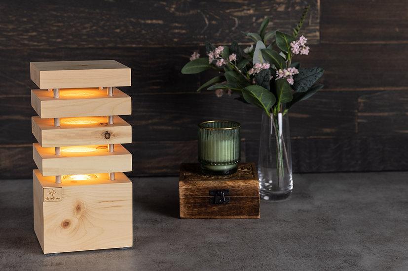 Nachttischlampe Zirbenholz 12,5 x 12,5 x 26cm