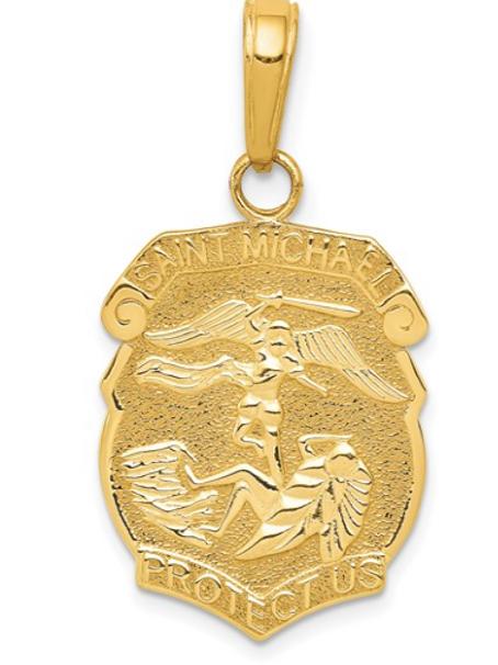 14K YELLOW GOLD ST. MICHAEL MEDAL