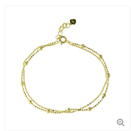 Sterling Silver Gold Plated Double Strand DC Bead Chain Bracelet