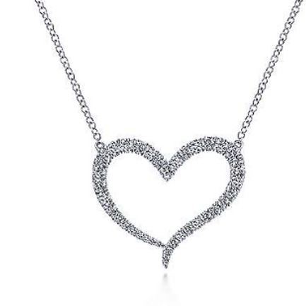 Gabriel & Co. 14K White Gold Open Heart Diamond Pendant Necklace