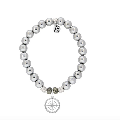 T.Jazelle Silver Steel Bracelet with Compass Rose Sterling Silver Charm