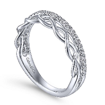 Gabriel & Co. 14K White Gold Braided Metal and Diamond Row Ring