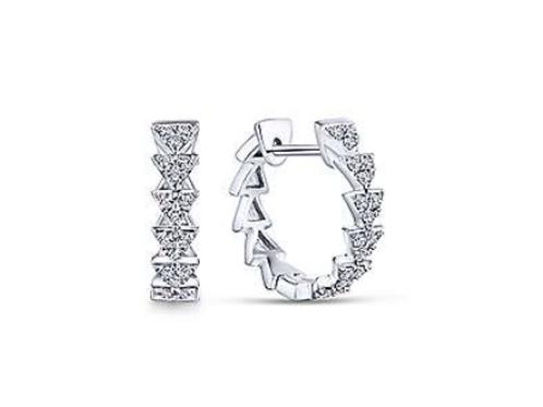 Gabriel & Co. 14k White Gold 10mm Stacked Triangle Diamond Huggie Earrings