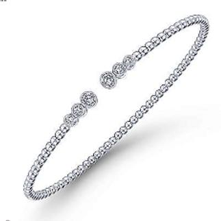 Gabriel & Co.14K White Gold Bead Split Cuff Bracelet with Bezel Set Diamonds