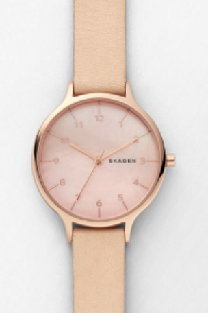 Skagen Anita Mother-of-Pearl Nude Leather Watch