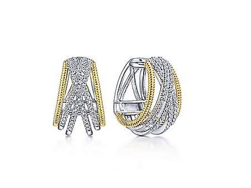 Gabriel  & Co. 14K Yellow-White Gold Twisted 20mm Diamond Hoop Earrings