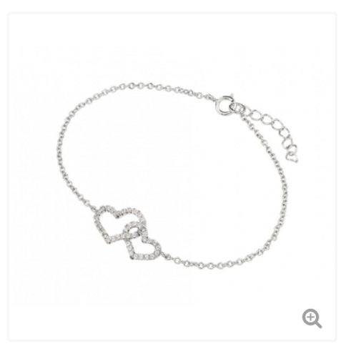 Sterling Silver Rhodium Plated Clear CZ Open Hearts Bracelet