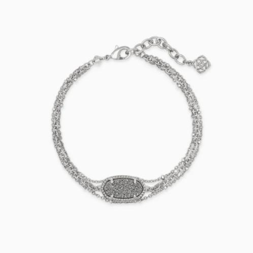 Kendra Scott Elaina Silver Multi Strand Bracelet In Platinum Drusy