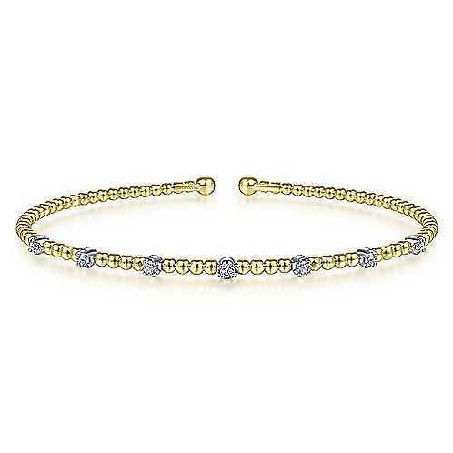 Gabriel & Co.  14K White-Yellow Gold Bujukan Bead Cuff Bracelet with Diamonds