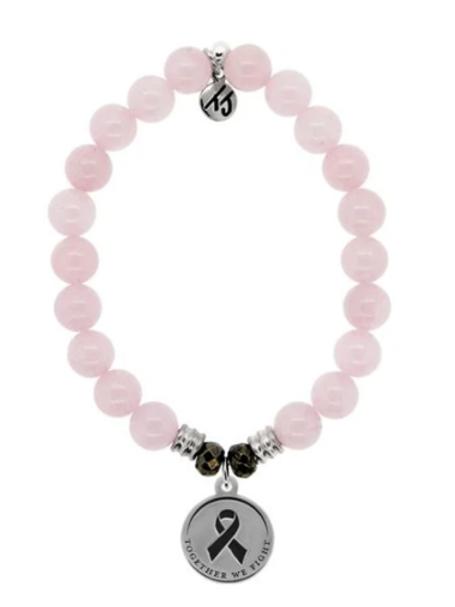 T.Jazelle Rose Quartz Stone Bracelet  Together We Fight Sterling Silver Charm