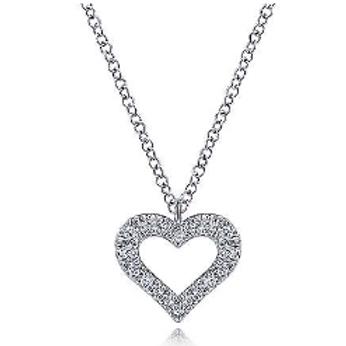 Gabriel & Co. 14K White Gold Diamond Heart Pendant Necklace