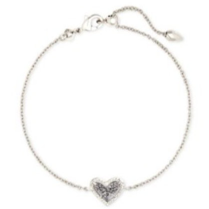 Kendra Scott - Ari Heart Silver Tone Chain Bracelet in Platinum Drusy