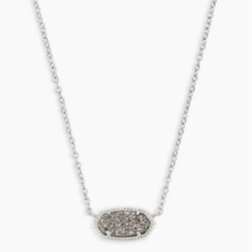 Kendra Scott - Elisa Silver Pendant Necklace In Platinum Drusy