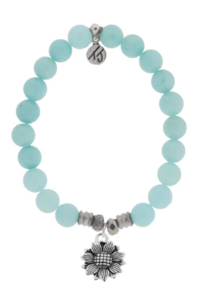T.Jazelle Apatite Stone Bracelet with Sunflower Sterling Silver Charm