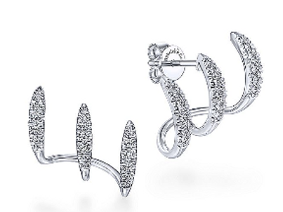 Gabriel & Co. - 14K White Gold Three Bar Diamond Stud Earrings