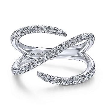 Gabriel & Co. 14K White Gold Abstract Diamond Wrap Ring