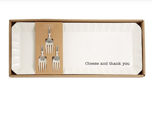 MudPie  CHEESE & THANK YOU TRAY SET