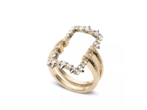 Alexis Bittar - Crystal Encrusted Oversized Link Ring