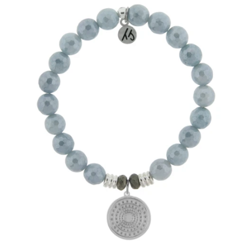 T.Jazelle Blue Quartzite Stone Bracelet with Family Circle Sterling Silver Charm