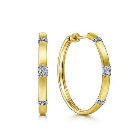 Gabriel & Co. 14K White-Yellow Gold 30MM Diamond Earrings