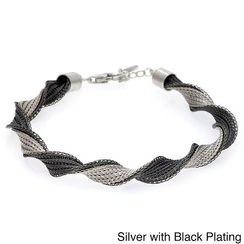 Sterling Silver Black and Silver Twisted Bracelet 7.5""