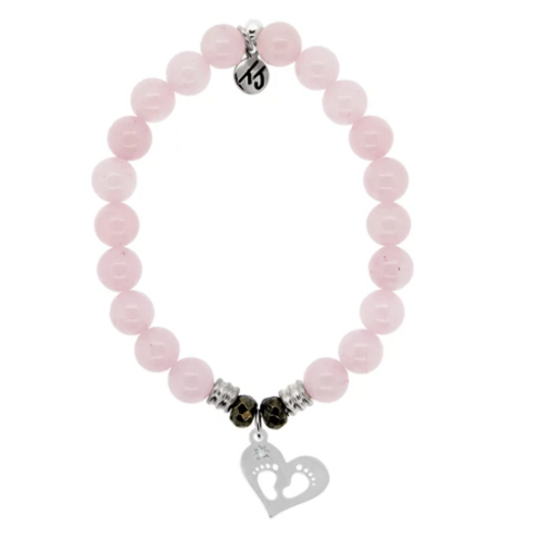 T.Jazelle Rose Quartz Stone Bracelet with Baby Feet Sterling Silver Charm
