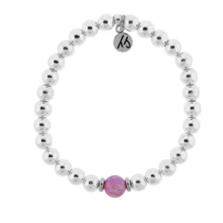 T.Jazelle The Cape Bracelet - Silver Steel with Pink Opal Ball