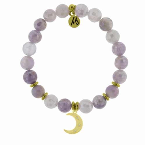 T.Jazelle  Gold Collection - Mauve Jade Stone Bracelet with Friendship Stars Gol