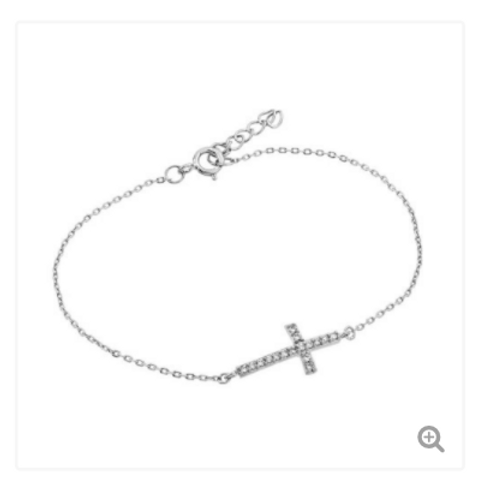 Sterling Silver Rhodium Plated Sideways Cross CZ Bracelet