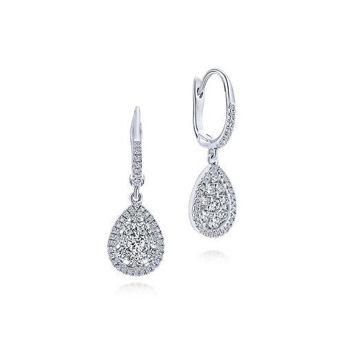 Gabriel & Co 14K White Gold Cluster Diamond Teardrop Earrings