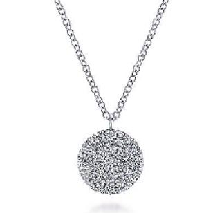 Gabriel & Co. 14K White Gold Round Diamond Disc Pendant Necklace