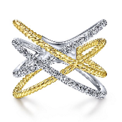 Gabriel & Co. 14K White-Yellow Gold Twisted Rope and Diamond Criss Cross Ring