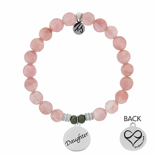 T.Jazelle Wartermelon Quartz Stone Bracelet with Daughter Endless Love Sterling