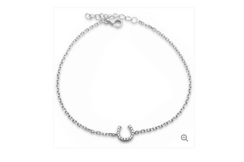 Sterling Silver White Cubic Zirconia Horse Shoe Bracelet