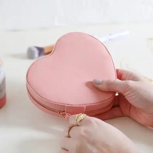 Peach Pink Heart Travel Jewellery Case