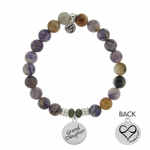 T.Jazelle Sage Amethyst Agate Stone Bracelet with Granddaughter Endless Love Ste