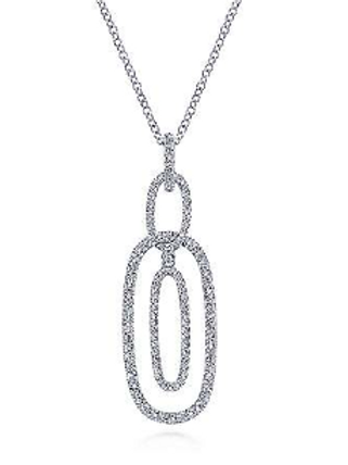 Gabriel & Co. 14K White Gold Interlocking Diamond Pavé Ovals Pendant Necklace