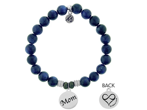 T.Jazelle Kyanite Stone Bracelet with Mom Endless Love Sterling Silver Charm