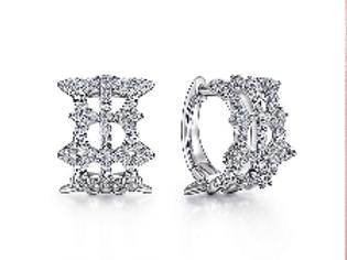 Gabriel & Co. Vintage 14K White Gold 15MM Diamond Earrings