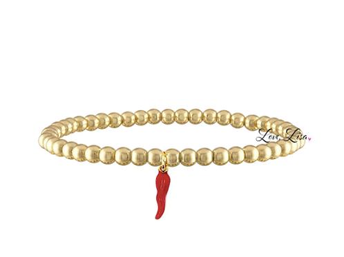 4mm Red Italian Horn Beaded Bracelet - Gold Tone