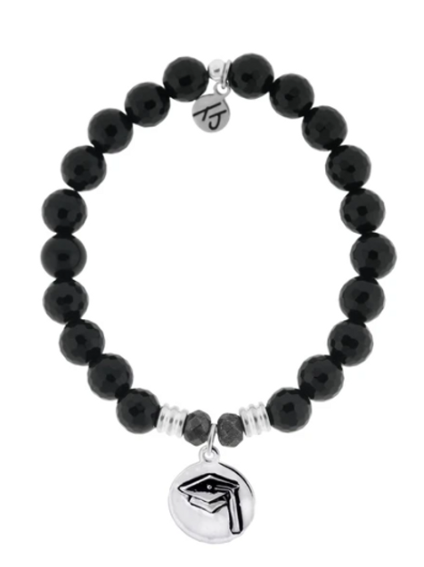 T.Jazelle Onyx Stone Bracelet with Grad Cap Stars Sterling Silver Charm