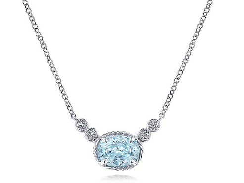 Gabriel & Co. 14K White Gold Oval Aquamarine Pendant Necklace with Diamonds